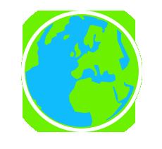 Weltweit: stilisierte grün-blaue Weltkugel