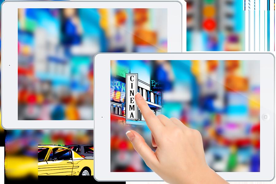 Abbildung zweier übereinandergelegter Tablets, der Screen auf dem hinteren ist unscharf, auf dem vorderen ist alles scharf, eine mit dem Zeigefinger ausgestreckte Hand steht sinnbildlich für die Benutzung des Tablets